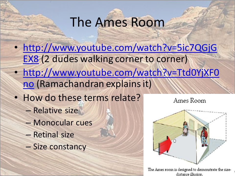 The Ames Room http://www.youtube.com/watch v=5ic7QGjGEX8 (2 dudes walking corner to corner)