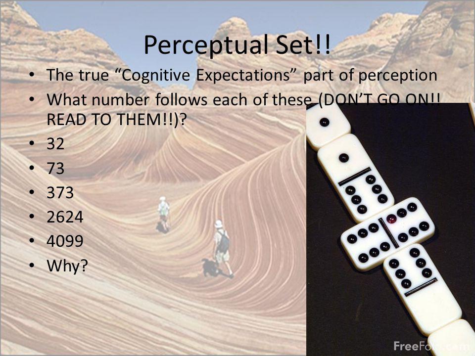 Perceptual Set!! The true Cognitive Expectations part of perception