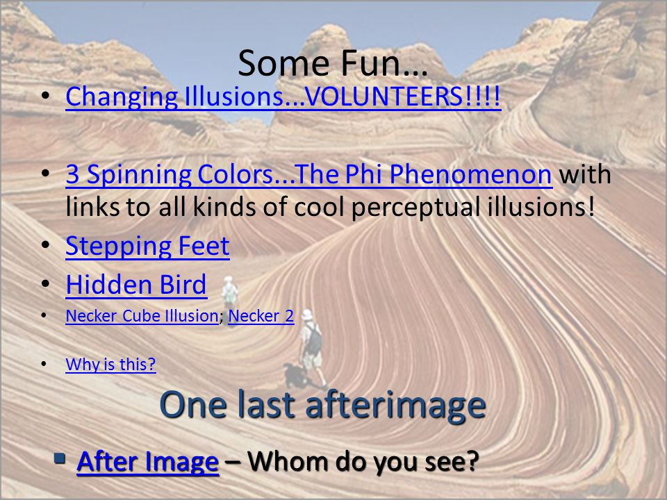 Some Fun… One last afterimage Changing Illusions...VOLUNTEERS!!!!