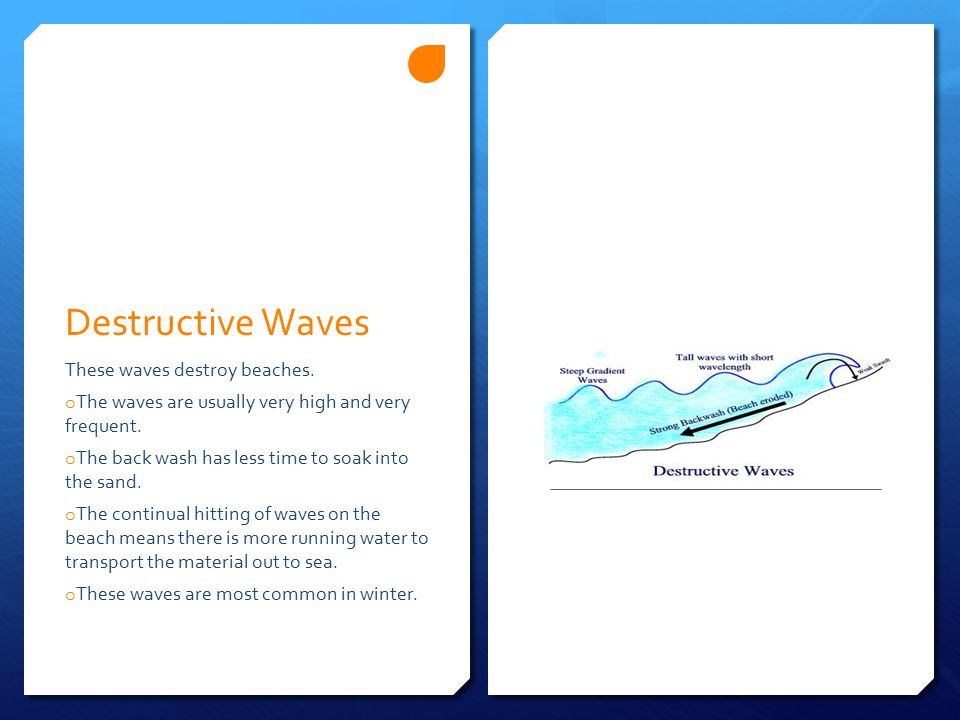 Destructive Waves These waves destroy beaches.