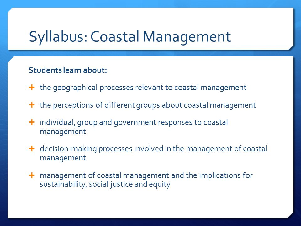 Syllabus: Coastal Management