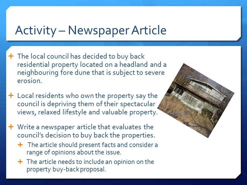 Activity – Newspaper Article