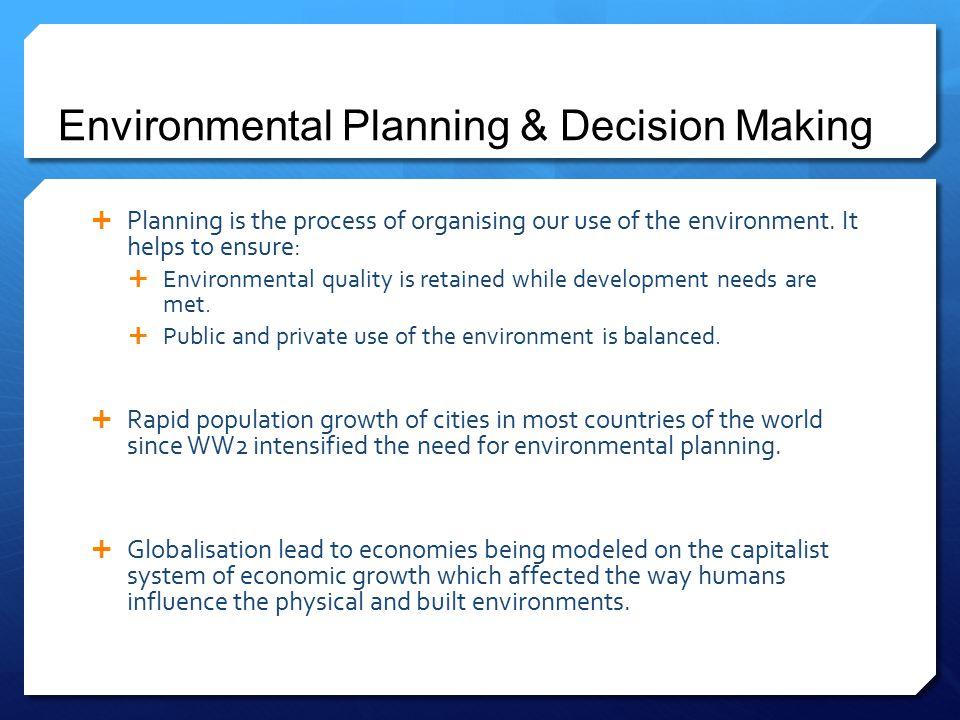 Environmental Planning & Decision Making