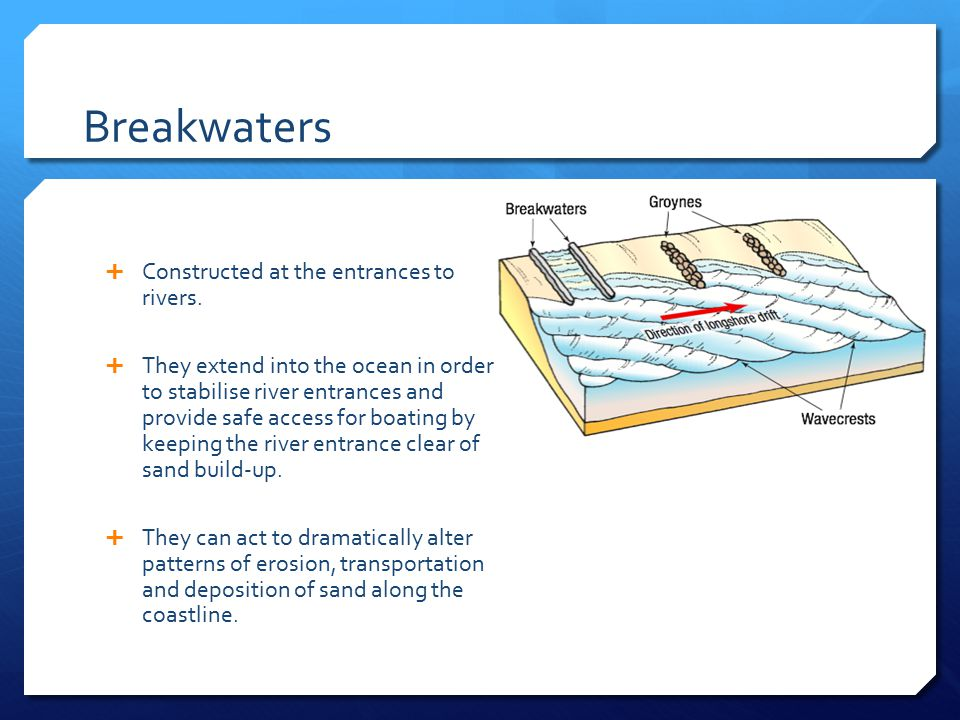 Breakwaters Constructed at the entrances to rivers.