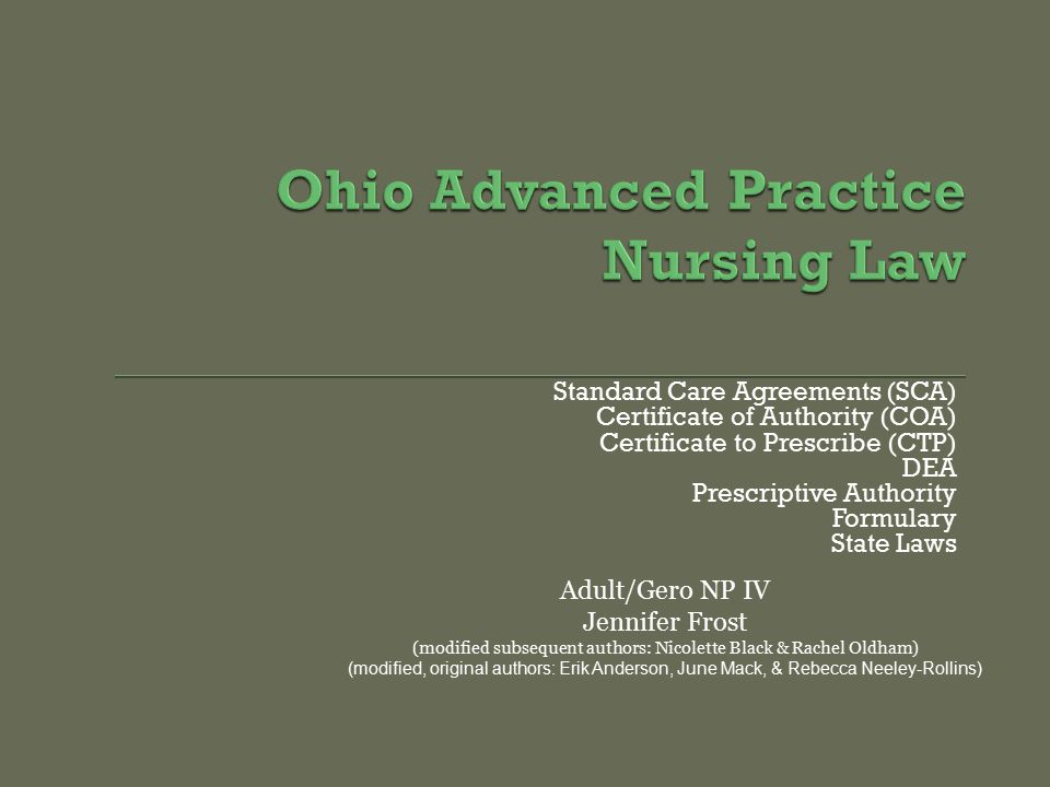 Ohio Advanced Practice Nursing Law