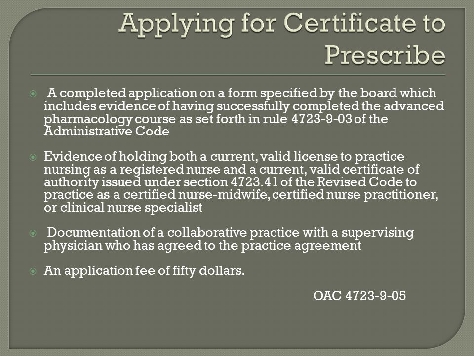 Applying for Certificate to Prescribe