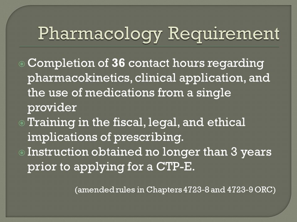 Pharmacology Requirement