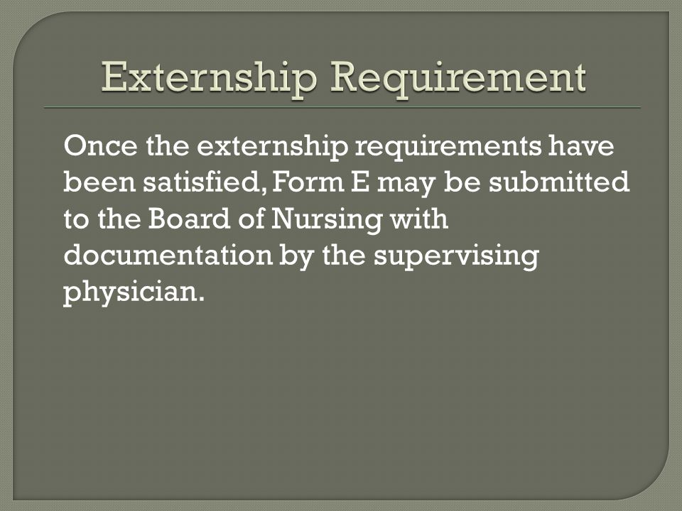 Externship Requirement