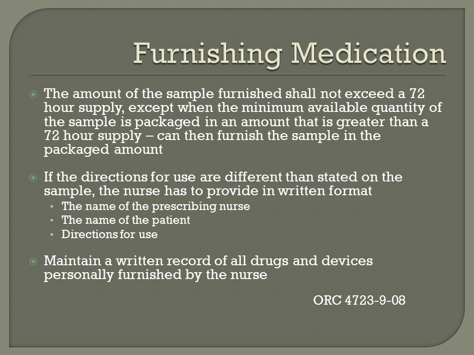Furnishing Medication