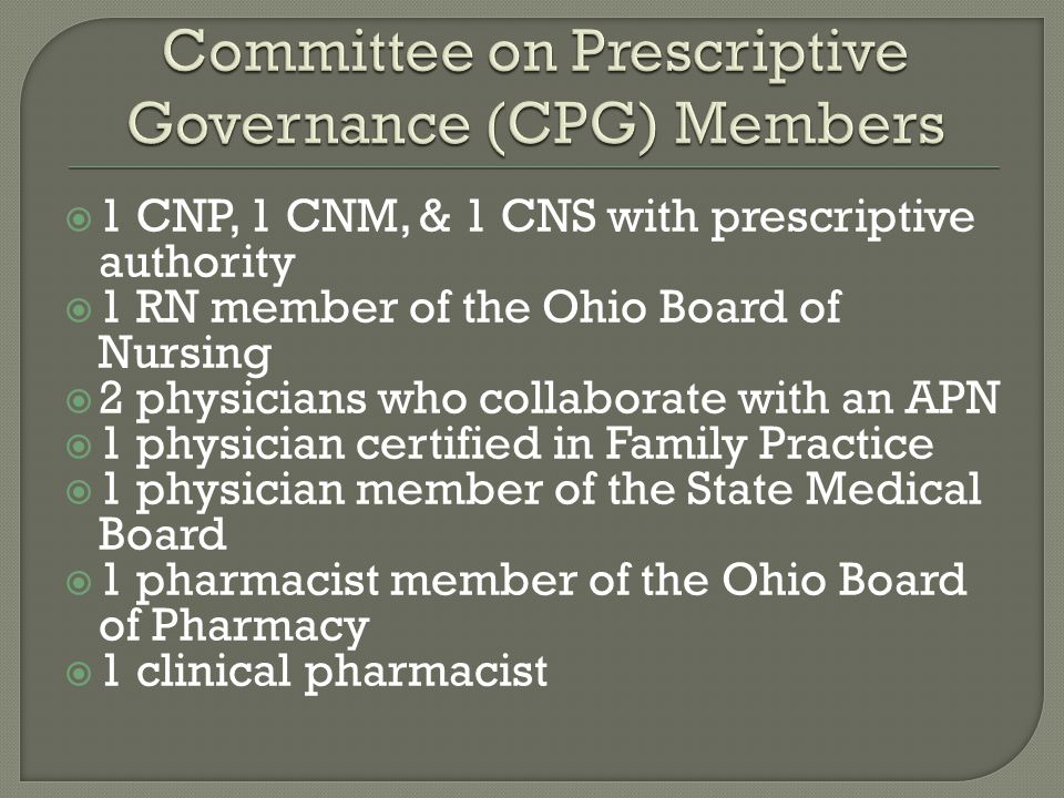 Committee on Prescriptive Governance (CPG) Members