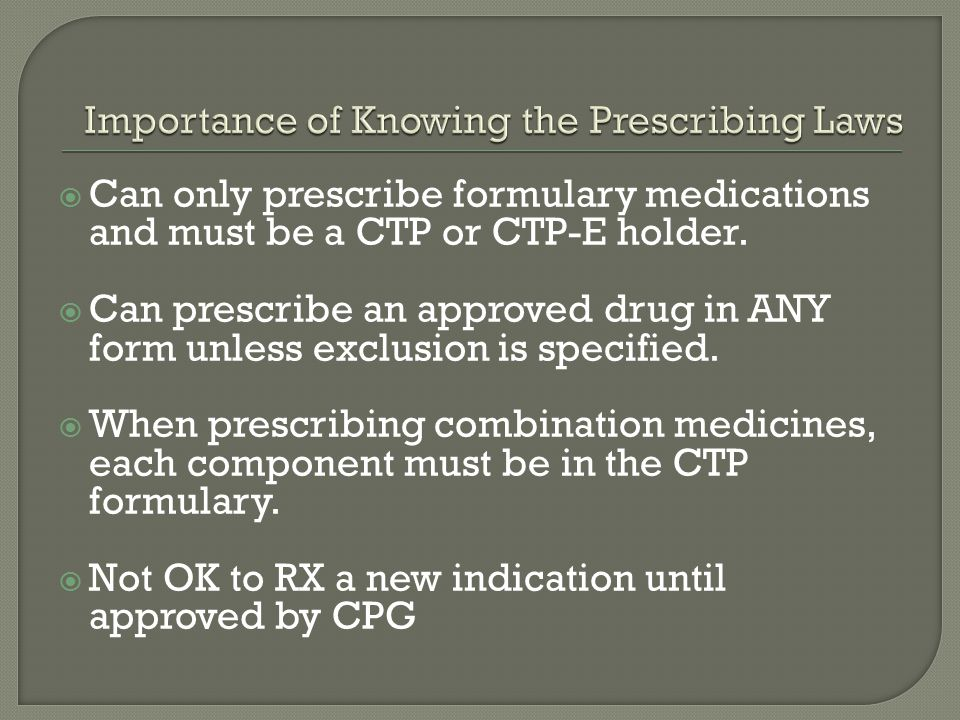 Importance of Knowing the Prescribing Laws