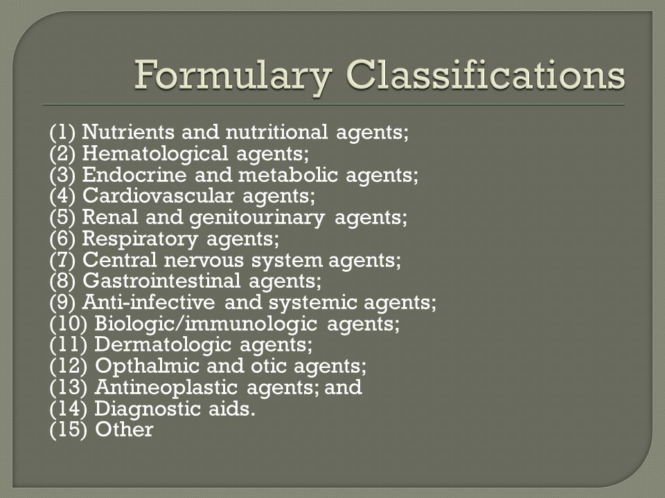 Formulary Classifications