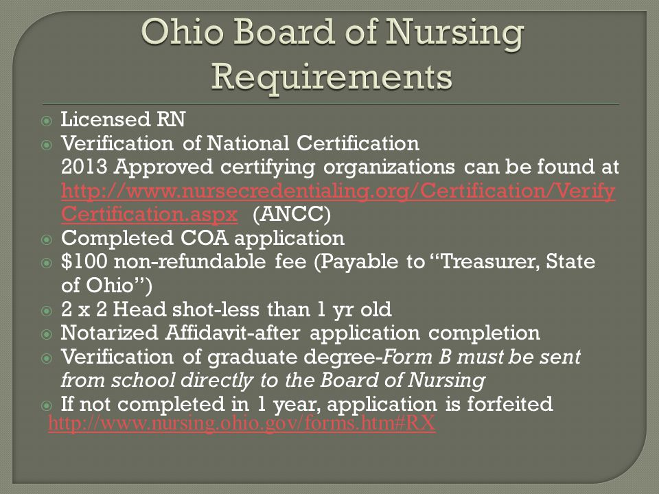 Ohio Board of Nursing Requirements