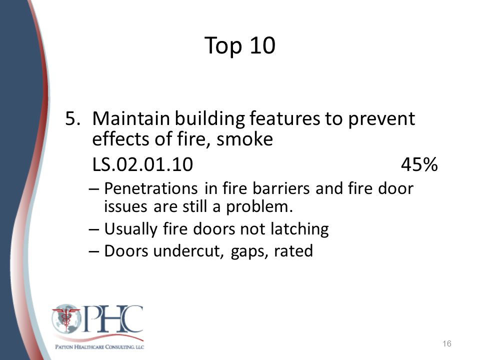 Top 10 Maintain building features to prevent effects of fire, smoke