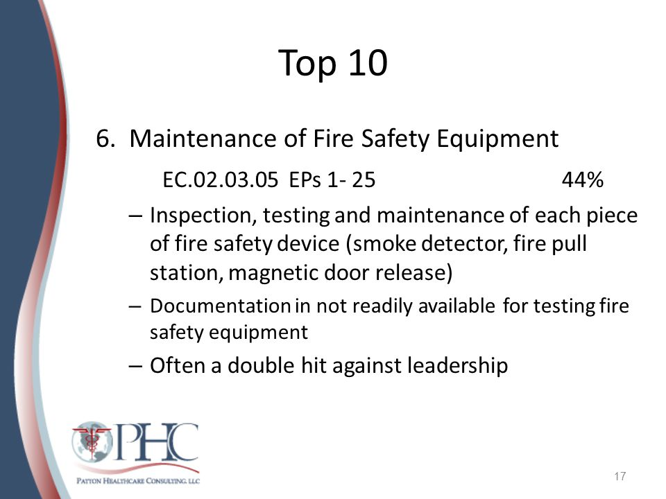 Top 10 Maintenance of Fire Safety Equipment EC.02.03.05 EPs 1- 25 44%