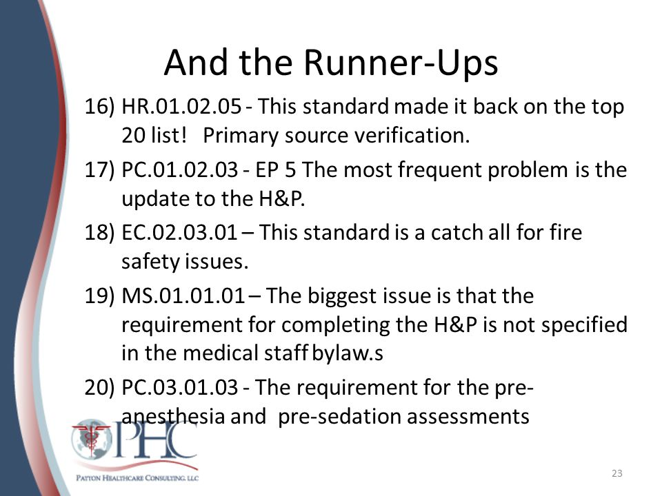 And the Runner-Ups HR.01.02.05 - This standard made it back on the top 20 list! Primary source verification.