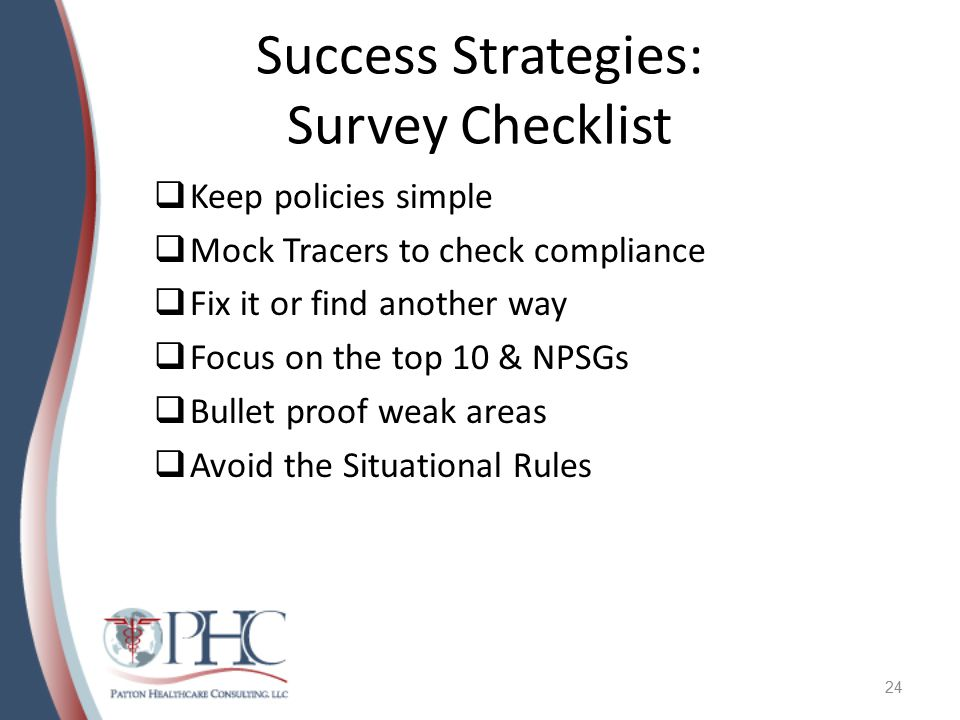 Success Strategies: Survey Checklist