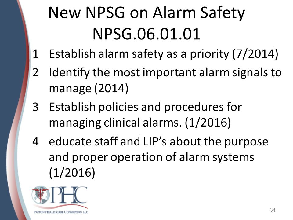 New NPSG on Alarm Safety NPSG.06.01.01
