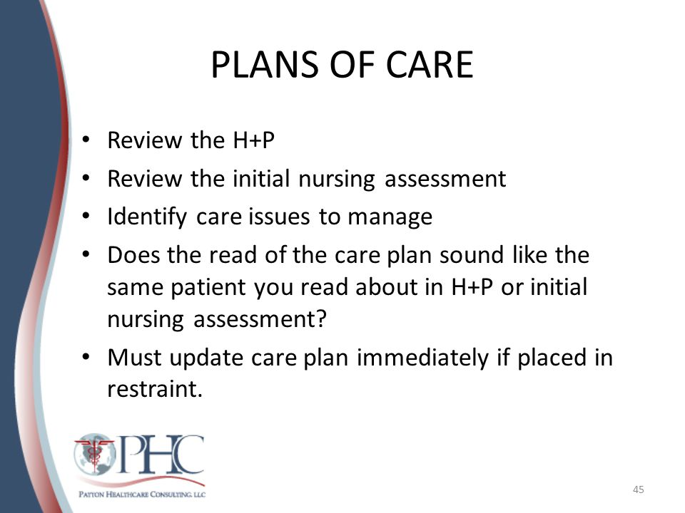 PLANS OF CARE Review the H+P Review the initial nursing assessment