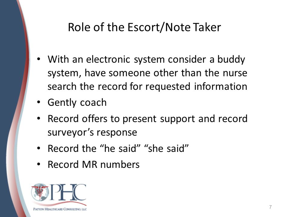 Role of the Escort/Note Taker