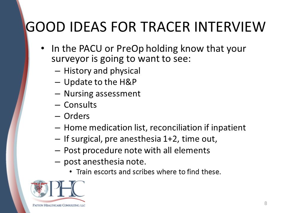 GOOD IDEAS FOR TRACER INTERVIEW