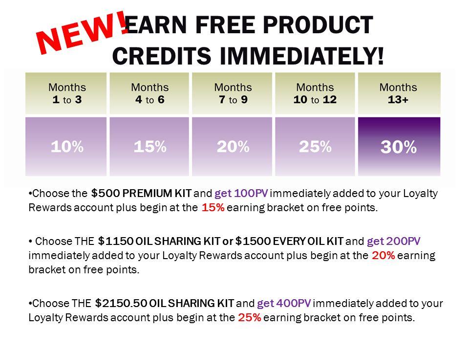 EARN FREE PRODUCT CREDITS IMMEDIATELY!