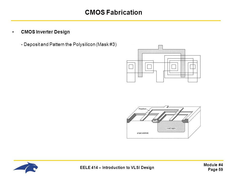 CMOS Fabrication CMOS Inverter Design - Deposit and Pattern the Polysilicon (Mask #3)