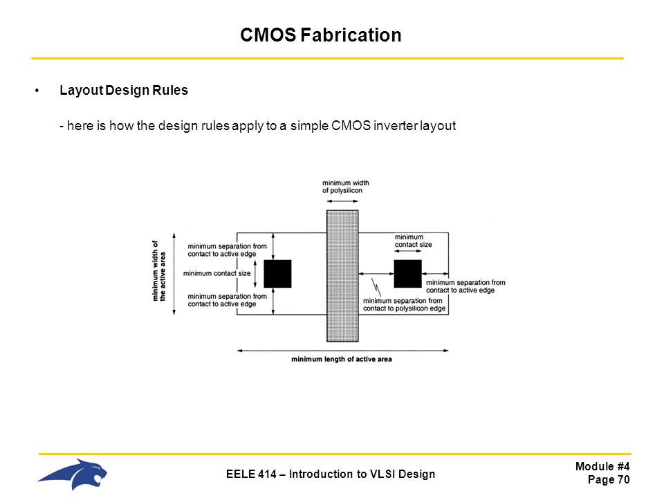 CMOS Fabrication Layout Design Rules - here is how the design rules apply to a simple CMOS inverter layout.