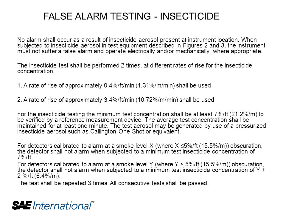 FALSE ALARM TESTING - INSECTICIDE