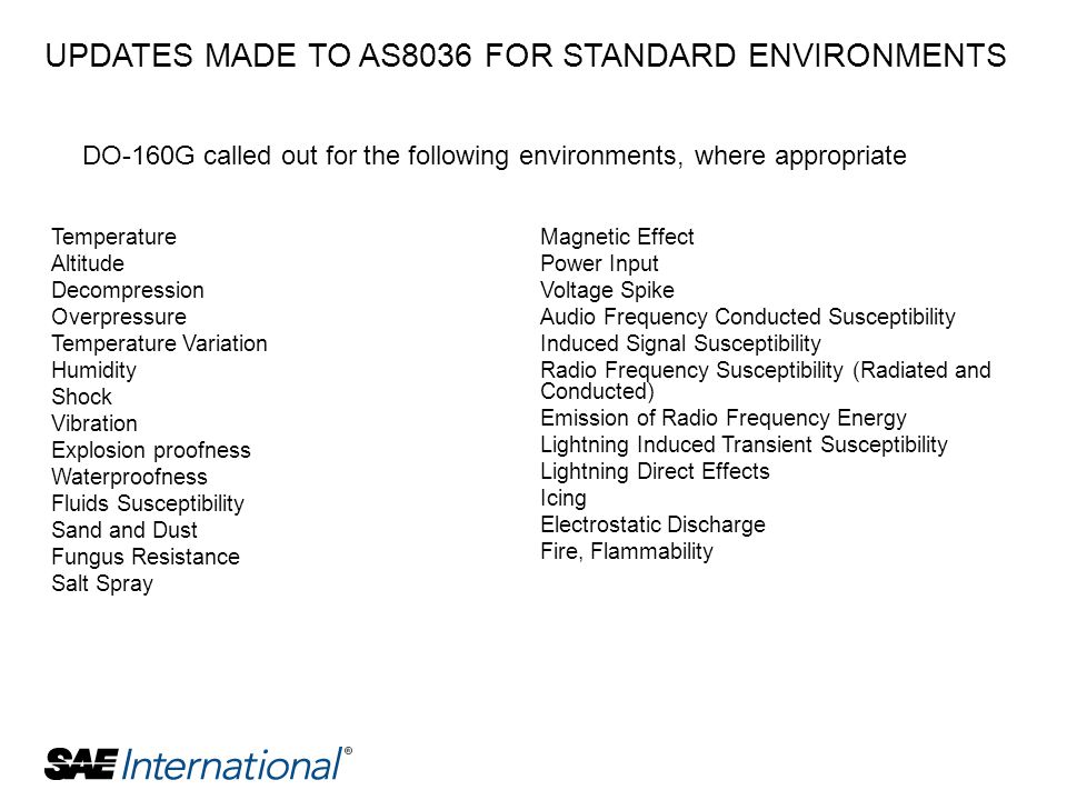 UPDATES MADE TO AS8036 FOR STANDARD ENVIRONMENTS