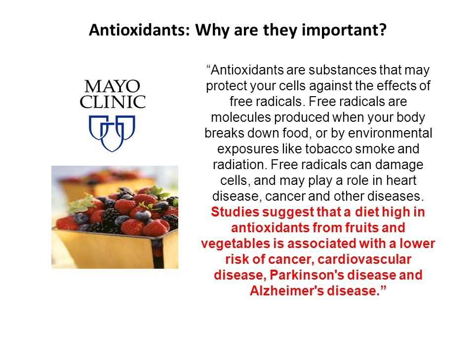 Antioxidants: Why are they important