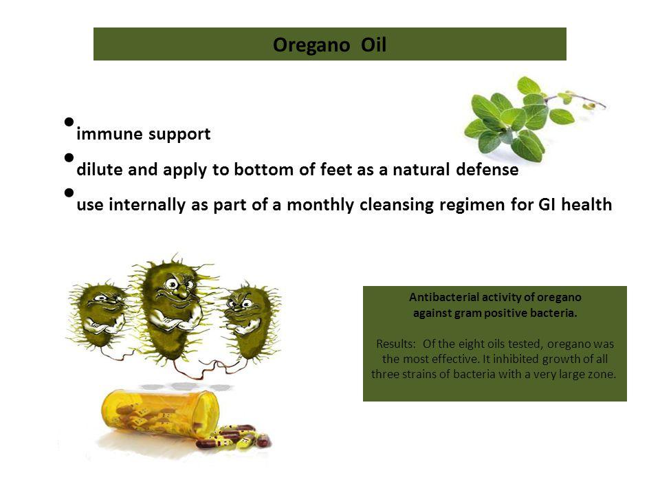 Antibacterial activity of oregano against gram positive bacteria.