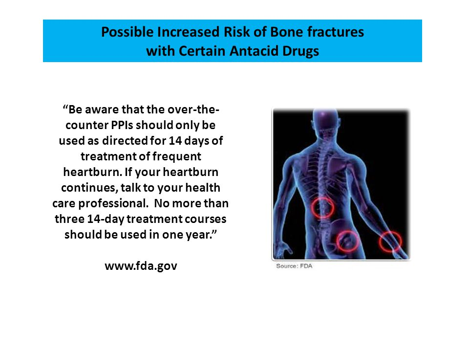 Possible Increased Risk of Bone fractures with Certain Antacid Drugs