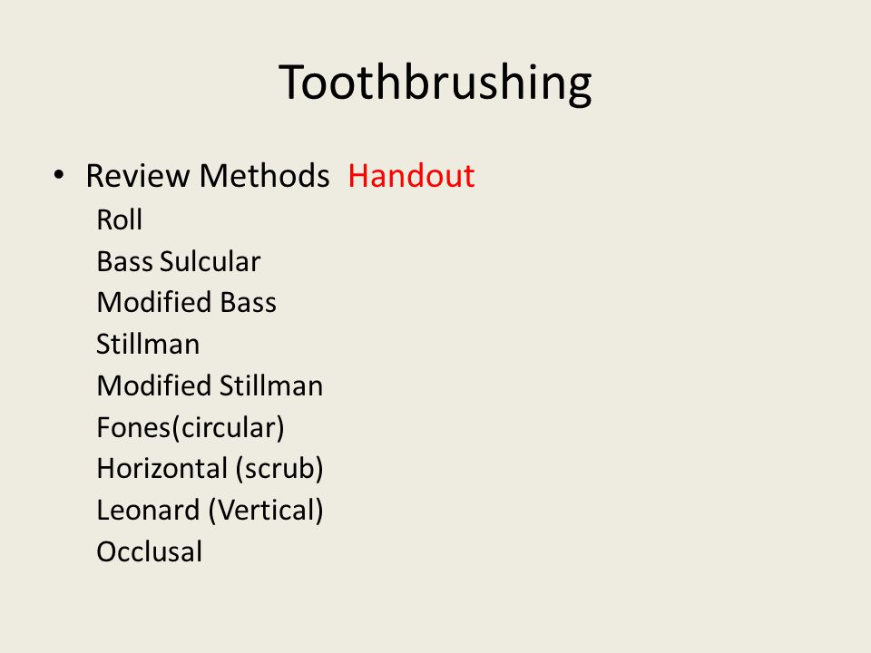 Toothbrushing Review Methods Handout Roll Bass Sulcular Modified Bass