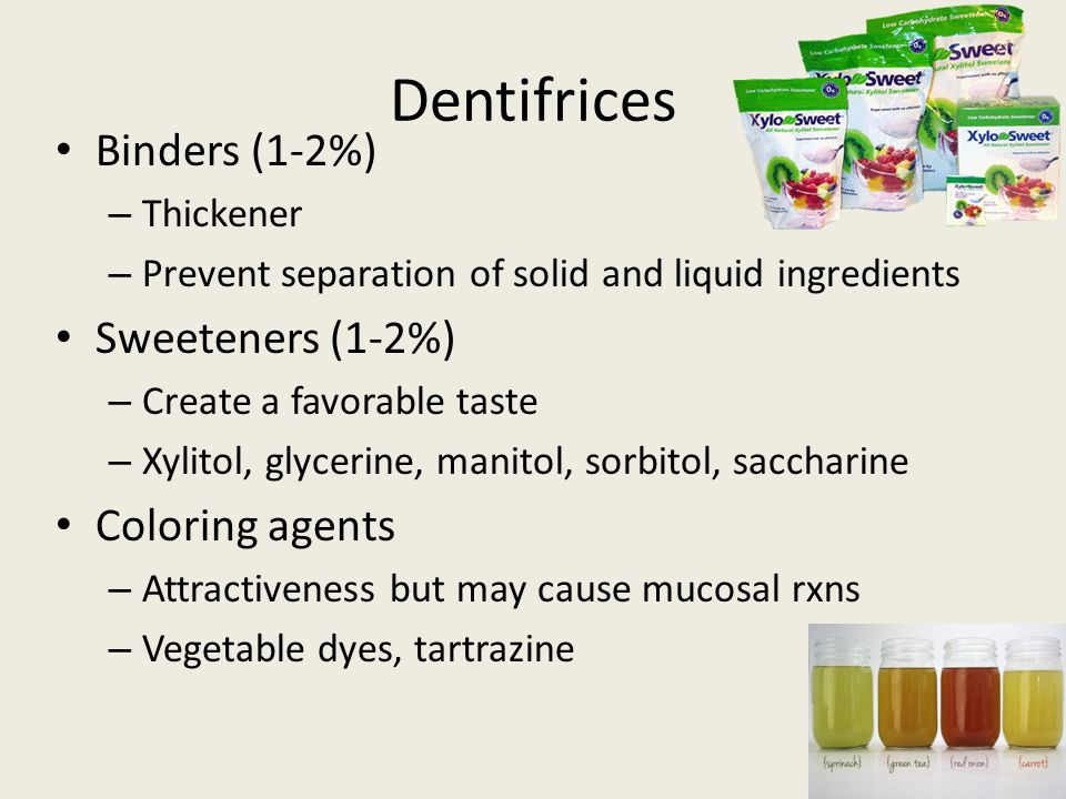 Dentifrices Binders (1-2%) Sweeteners (1-2%) Coloring agents Thickener