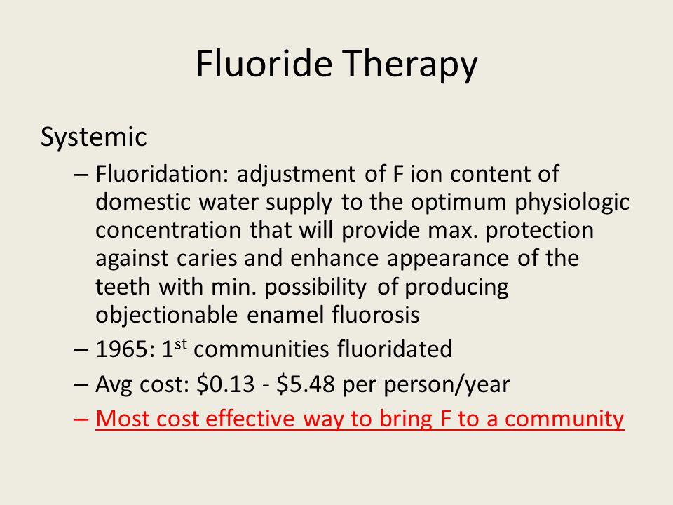 Fluoride Therapy Systemic