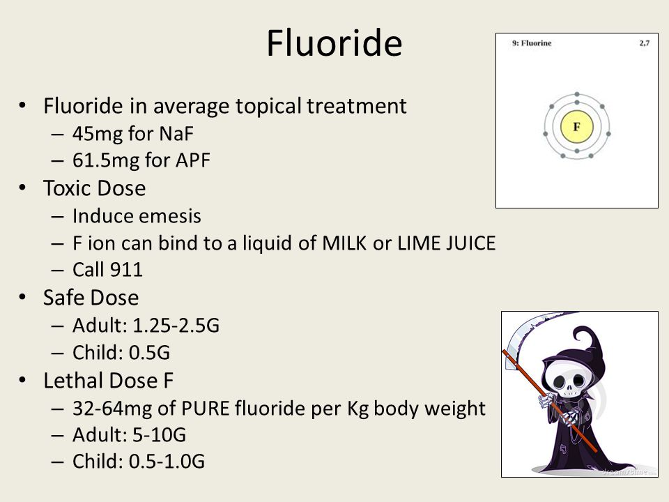 Fluoride Fluoride in average topical treatment Toxic Dose Safe Dose