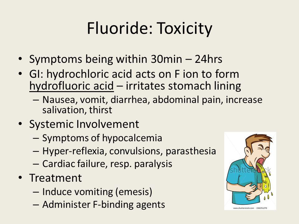 Fluoride: Toxicity Symptoms being within 30min – 24hrs