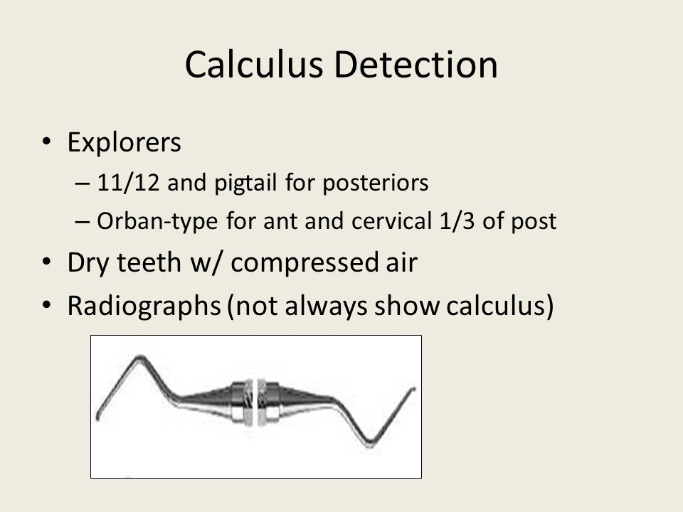 Calculus Detection Explorers Dry teeth w/ compressed air