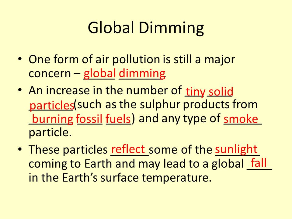 Global Dimming One form of air pollution is still a major concern – _____ _______.