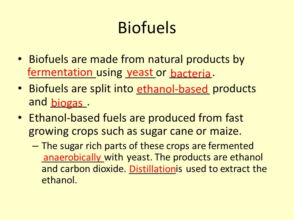 Biofuels Biofuels are made from natural products by ___________using _____or _______. Biofuels are split into ____________ products and ______.