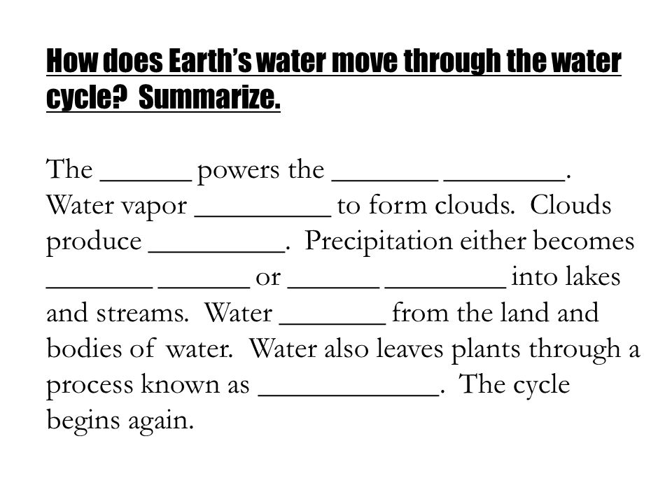How does Earth's water move through the water cycle Summarize.