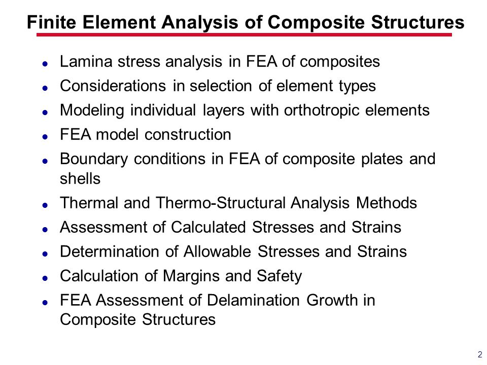 Finite Element Analysis of Composite Structures