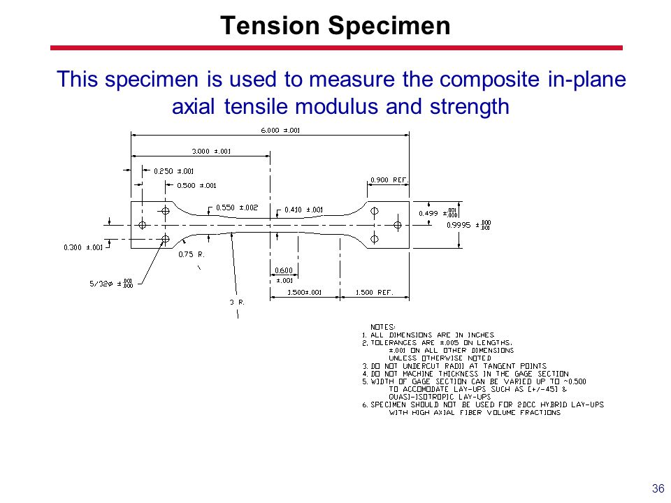 Tension Specimen This specimen is used to measure the composite in-plane axial tensile modulus and strength.