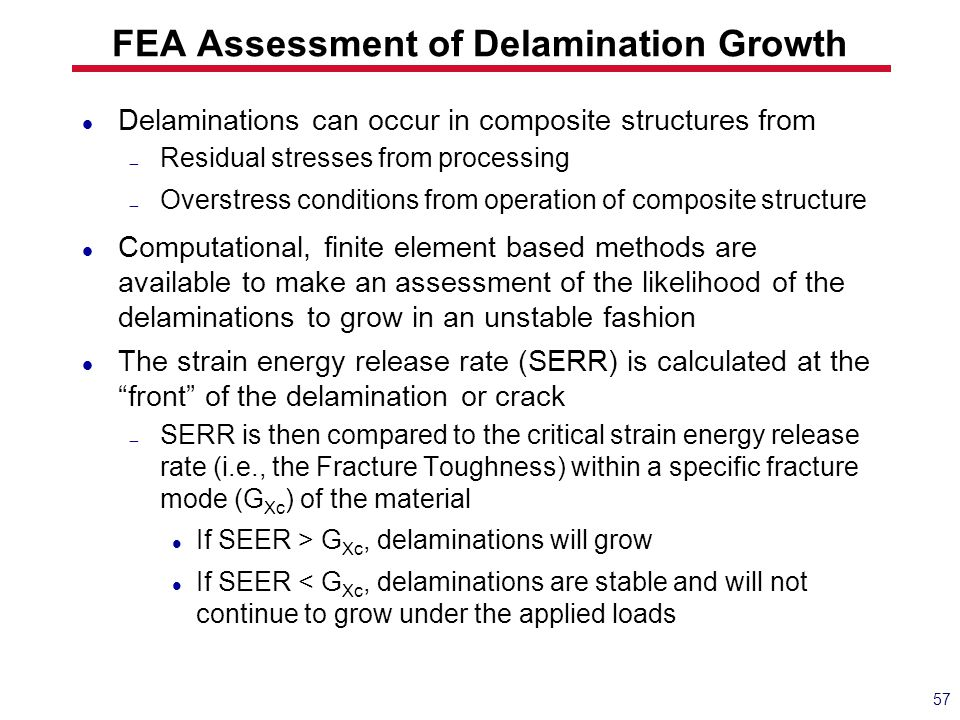 FEA Assessment of Delamination Growth