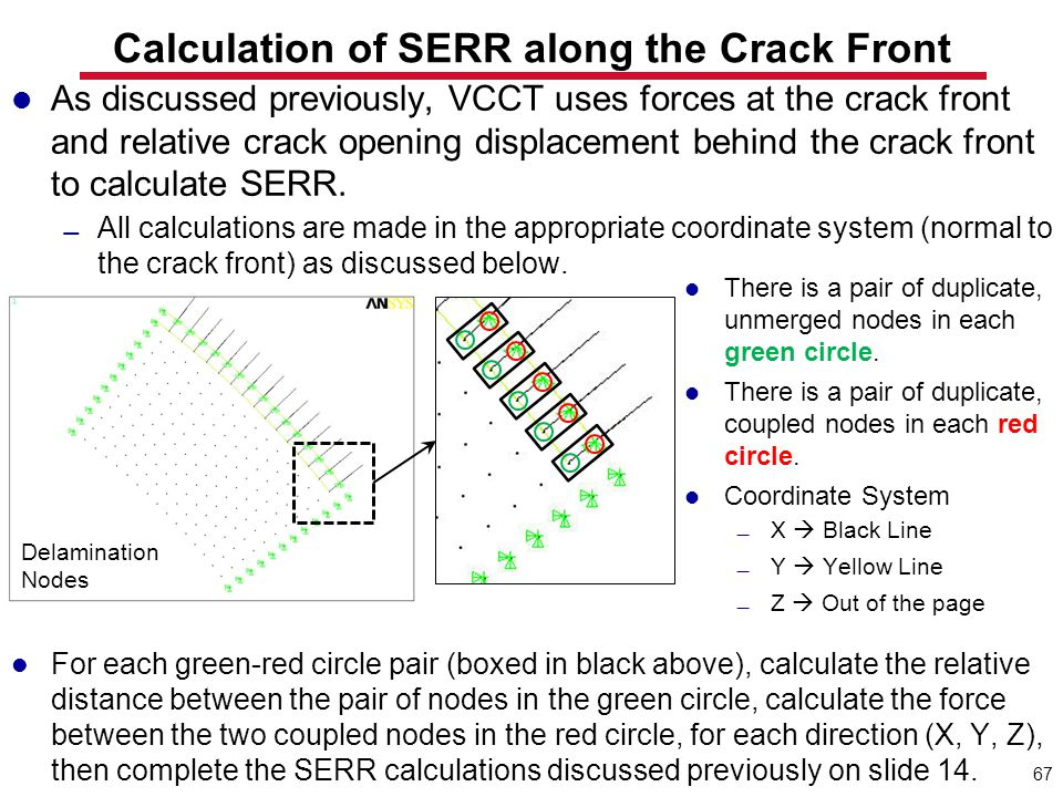 Calculation of SERR along the Crack Front