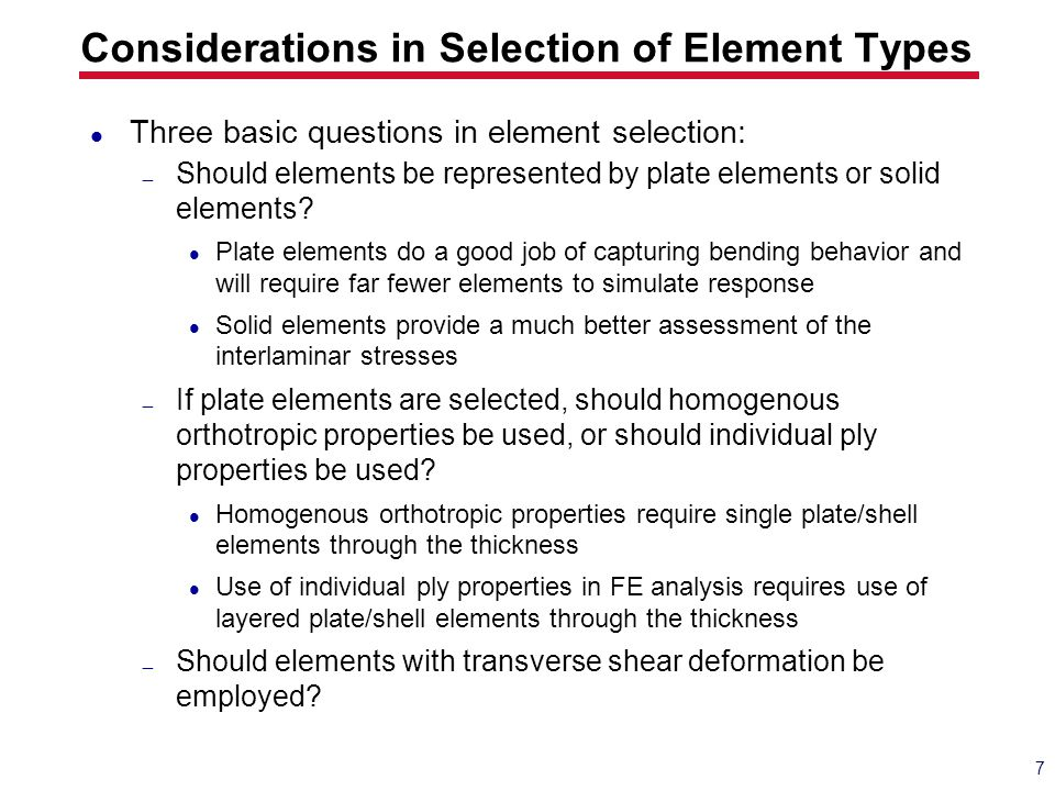 Considerations in Selection of Element Types