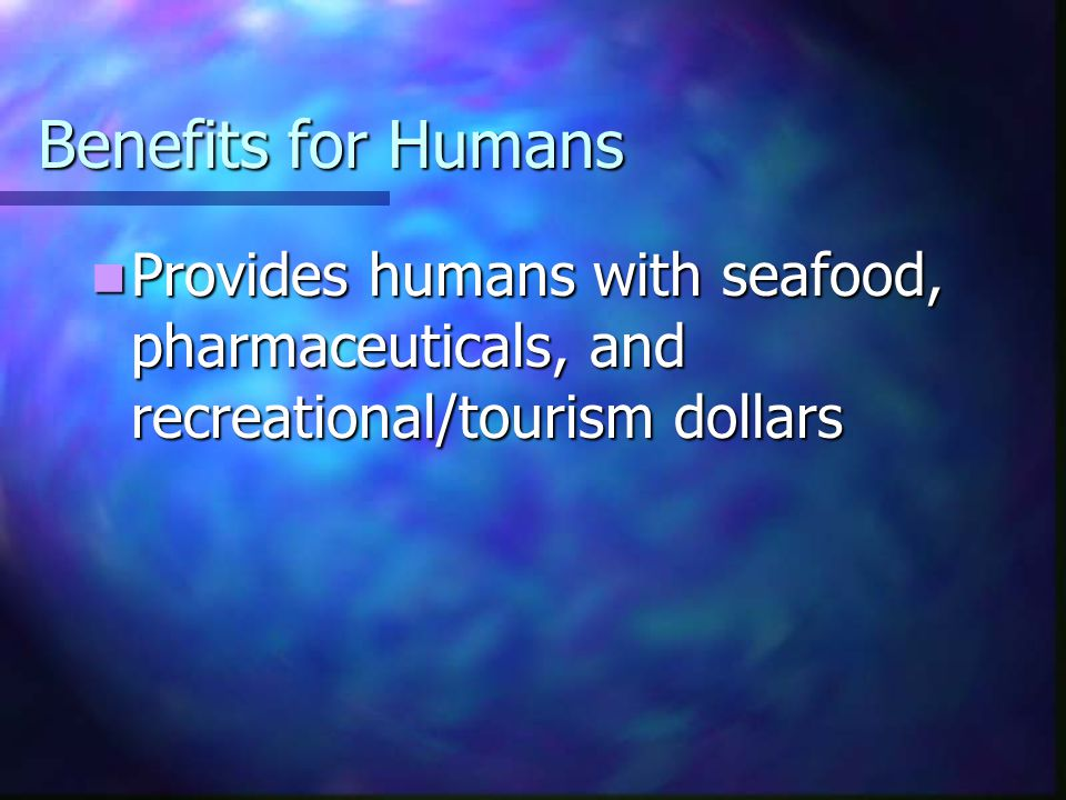 Benefits for Humans Provides humans with seafood, pharmaceuticals, and recreational/tourism dollars