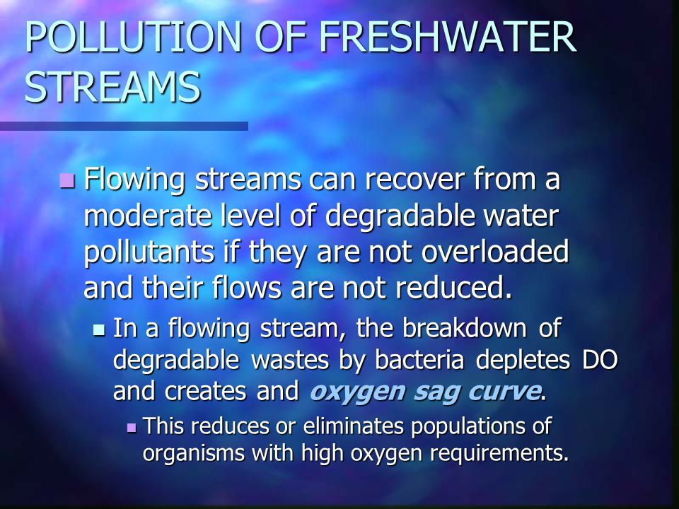 POLLUTION OF FRESHWATER STREAMS