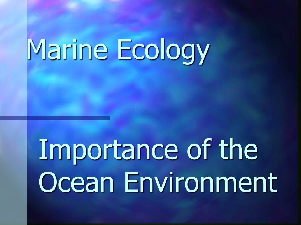 Importance of the Ocean Environment